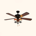 52 Inch Antique Ceiling Light with Pull Chain 3 Lights Wood Ceiling Fan with Pull Chain for Restaurant