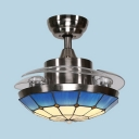 Living Room Bowl LED Ceiling with Invisible Blade Stained Glass 36 Inch Tiffany Style Blue Semi Flush Ceiling Light