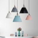 Candy Colored Funnel Hanging Light Single Light Macaron Loft Pendant Light for Office Hallway