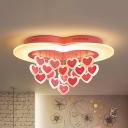 Lovely Heart LED Ceiling Mount Light Metal Pink/White Ceiling Lamp for Girls Bedroom