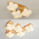 White Plum Blossom Ceiling Mount Light 3/5 Heads Modern Style Frosted Glass Ceiling Lamp for Teen