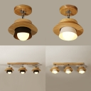 Rotatable Asian Style Ceiling Lamp 1/3 Heads Wood Semi Flush Ceiling Light in Black/White for Cloth Shop