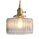 Clear Glass Drum Pendant Light One Light Simple Style Suspension Light in Brass for Kitchen