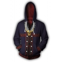 Fashion Gold Skull Printed Comic Cosplay Costume Long Sleeve Purple Zip Up Hoodie