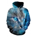 Cool Blue Cat 3D Printed Long Sleeve Sport Casual Pullover Unisex Hoodie
