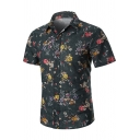 Mens Summer Popular Floral Pattern Short Sleeve Spread Collar Button Front Fitted Shirt