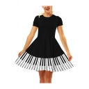 Womens Summer Stylish 3D Pattern Basic Round Neck Short Sleeve Mini A-Line Dress