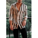 Mens New Stylish Vertical Stripe Printed Long Sleeve Casual Loose Button Shirt
