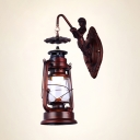 Retro Loft Rust Hanging Wall Light with Mermaid 1 Light Metal Wall Lamp for Kitchen Shop