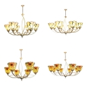 Tiffany Style Chandelier with Leaf/Sunflower 6/8 Lights Metal Pendant Light for Bedroom Hotel