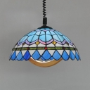 Stained Glass Umbrella Pendant Lighting with Swirl Cord Study Room Tiffany Vintage Hanging Light in Blue
