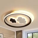 Black & White Cloud Ceiling Mount Light Modern Acrylic Warm/White Lighting Flush Light for Bedroom