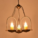 Metal Resin Candle Chandelier Restaurant Cafe 3 Lights Vintage Style Hanging Light in Aged Brass