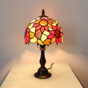 Stained Glass Sunflower Desk Light Living Room 1 Head Tiffany Style Rustic Table Light with Plug-In Cord