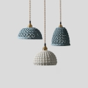 Ceramics Hollow Dome Pendant Light One Light Nordic Style Hanging Light in Blue/White for Study Room