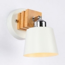 Rotatable White Sconce Light Bucket Shape 1 Head Metal Wood Wall Lamp for Bedside Hallway