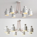 Nodic Style White Metal Chandelier 6/8 Light Downlighting Led Suspended Light