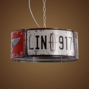 3 Heads Round Box Chandelier Industrial Metal Hanging Light in Red & White for Restaurant