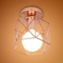 Bathroom Hallway Wire Frame Ceiling Mount Light Iron 1 Light Industrial Rose Gold Ceiling Lamp