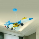 Cartoon Airplane Shape Hanging Light Metal Glass Ceiling Pendant in Light Blue for Child Bedroom