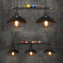 Restaurant Barn Island Pendant with Billiard Iron 2/3 Lights Vintage Black Island Chandelier