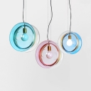 Glass Drum Suspension Light 1 Head Contemporary Pendant Lamp in Dark Blue/Light Blue/Pink for Kid Bedroom