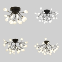 Black Twig LED Semi Flush Ceiling Light 15/27/36/45 Bulbs Modern Metal Ceiling Fixture for Bedroom