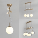 Gold Branch Hanging Light with Resin Bird 1/3/5 Lights Metal Glass Ceiling Light for Restaurant