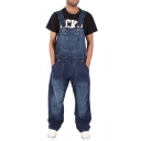 Guys Cool Bleached Washed Blue Casual Loose Baggy Denim Bib Overalls