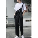 Trendy Simple Plain Black Casual Straight Fit Bib Overalls Pants