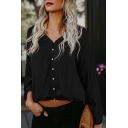 Summer Cotton Loose Basic Simple Plain V-Neck Long Sleeve Button Down Blouse Top