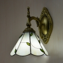 Rustic Style Cone Wall Light 1 Light Glass Sconce Light with Leaf Decoration for Bedroom