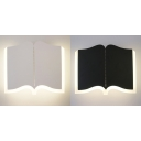 Study Room Book Wall Light Acrylic Creative Black/White LED Sconce Light in Warm/White
