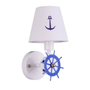 Girl Boy Bedroom Tapered Wall Sconce Metal 1 Light Creative White LED Sconce Light with Rudder Decoration