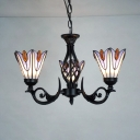 Tiffany Style Hanging Lamp Petal 3 Lights Stained Glass Chandelier for Restaurant Bedroom