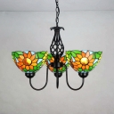Sunflower Dinging Room Chandelier Stained Glass 3 Lights Tiffany Style Rustic Pendant Light