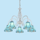 Mediterranean Style Blue Pendant Lamp Cone Shade 5 Lights Glass Chandelier for Living Room