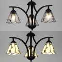 Rustic Style Chandelier Cone Shade 3 Lights Beige/Clear Glass Pendant Lamp for Hallway Kitchen