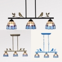 Tiffany Style Dome Chandelier with Bird 3 Lights Glass Island Light in Aged Brass/Black/Blue for Balcony