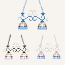 Balcony Stair Dome Chandelier Glass 2 Lights Tiffany Style Black/Blue/White Pendant Light