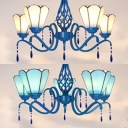 Glass Metal Conical Chandelier Bedroom Hotel 5 Lights Tiffany Style Pendant Light in Blue/White