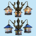Stained Glass House Chandelier with Mermaid 3 Lights Tiffany Style Vintage Pendant Light for Balcony