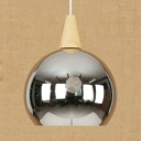 Metal Globe Hanging Light with Adjustable Cord Kitchen 1 Light Modern Ceiling Light in Chrome/Rose Gold