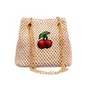 New Fashion Sequin Cherry Pattern Straw Crossbody Bucket Bag 16*8*15 CM