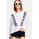 Women's Stylish LET'S PLAY Letter Print Long Sleeve Round Neck White Pullover Sweatshirt