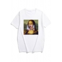 Funny Character Print Round Neck Short Sleeves White Tee