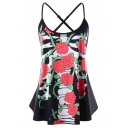New Trendy Floral Printed Spaghetti Straps Sleeveless Crossback Black Tank For Women