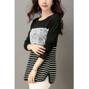 Color Block Stripe Lace Patch Round Neck Long Sleeve Split Side Cotton Tee