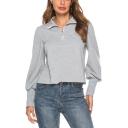 Gray Zippered Lapel Collar Lantern Sleeve Plain Sweatshirt