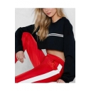 Women's Stripe Print Long Sleeve Round Neck Black Sporty Crop Sweatshirt
